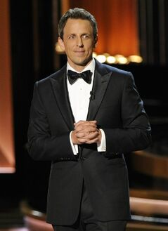 Host Seth Meyers speaks on stage at the 66th Annual Primetime Emmy Awards at the Nokia Theatre L.A. Live on Monday, Aug. 25, 2014, in Los Angeles. (Photo by Chris Pizzello/Invision/AP)