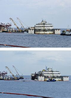 In this combo picture the luxury cruise ship Costa Concordia is seen as it moves away from the underwater platform where it laid, during operations to put it afloat, on the tiny Tuscan island of Giglio, Italy, Monday, July 14, 2014. The shipwrecked Costa Concordia has been successfully put afloat in preparation to tow it away for scrapping. Authorities expressed satisfaction that the operation to float the Concordia from an underwater platform had proceeded without a hitch early Monday. The cruise liner struck a reef in January 2012 and capsized, killing 32 people. (AP Photo/Giacomo Aprili)