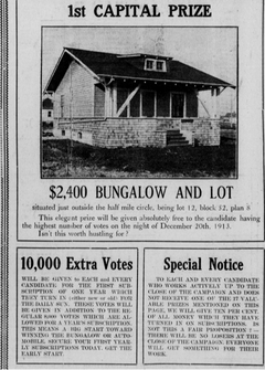 A Brandon Sun clipping detailing what was up for grabs during the newspaper's biggest circulation contest 100 years ago.