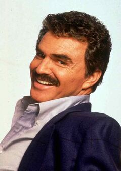 Famous moustache graces the face of actor Burt Reynolds.