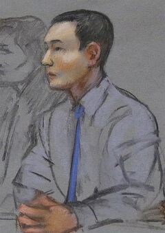 FILE - In this May 13, 2014 file courtroom sketch, defendant Azamat Tazhayakov, a college friend of Boston Marathon bombing suspect Dzhokhar Tsarnaev, sits during a hearing in federal court in Boston. Jury selection is set to begin Monday, June 30, 2014 in Boston for his federal trial on obstruction of justice charges. Tazhayakov, of Kazakhstan, is accused with another friend of removing items from Tsarnaev's dorm room, but is not charged with participating in the bombing or knowing about it in advance. (AP Photo/Jane Flavell Collins, File)