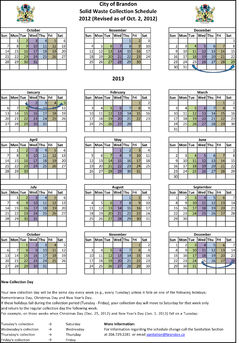 A calendar of the new collection days.