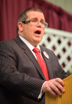 In this January 2011 photo, Assiniboine Community College president Mark Frison addresses members of the Brandon Chamber of Commerce. Frison is pleased public post-secondary institutions are eligible recipients of the provincial-territorial infrastructure funds under the new Building Canada Fund, unveiled on Thursday.