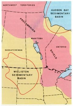 The Bakken oilfields are located in the Williston Sedimentary Basin, a large area straddling the Canada-U.S. border and incorporating portions of southwestern Manitoba, southeastern Saskatchewan, most of North Dakota, the northwest corner of South Dakota and the northeast corner of Montana.