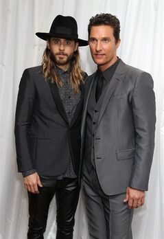 American actors Jared Leto and Matthew McConaughey pose for photographers at Dallas Buyers Club's UK Premiere at the Washington Mayfair Hotel, on Wednesday Jan. 29, 2014, in London. (Photo by Jon Furniss Photography/Invision/AP Images)