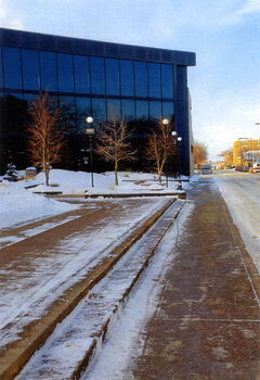 Clean sidewalk and street at city hall.
