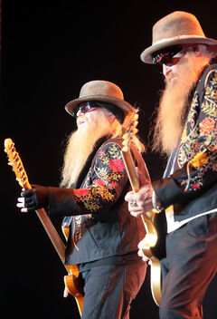 Dusty Hill and Billy Gibbons of ZZ Top entertained their fans on stage during Wednesday night's concert at Westman Place.