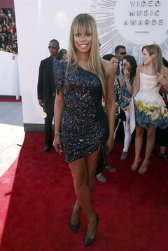 Laverne Cox arrives at the MTV Video Music Awards at The Forum on Sunday, Aug. 24, 2014, in Inglewood, Calif. (Photo by Matt Sayles/Invision/AP)