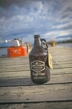 Growlers, such as this bottle of Lake of the Woods craft beer, are enjoyed by brewers and customers alike.