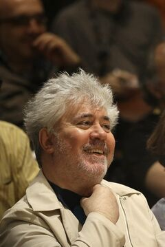 Producer Pedro Almodovar attends a press conference for Relatos Salvajes at the 67th international film festival, Cannes, southern France, Saturday, May 17, 2014. (AP Photo/Thibault Camus)