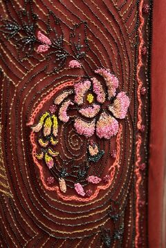 This photo taken on Feb. 11, 2014, shows an embroidered detail of a costume from the British television drama