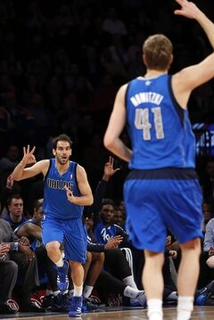 Dallas Mavericks' Jose Calderon, left celebrates with teammate Dirk Nowitzki (41) after scoring against the New York Knicks during the first half of an NBA basketball game, Monday, Feb. 24, 2014, in New York. (AP Photo/Jason DeCrow)