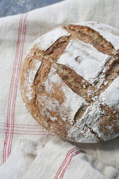 This May 5, 2014, photo shows Dutch oven multigrain bread in Concord, N.H. (AP Photo/Matthew Mead)