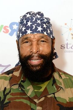 FILE - Lawrence Tureaud, better known as Mr. T attends the Starlight Awards at the Skirball Cultural Center in this Wednesday, Sept. 25, 2013 file photo taken in Los Angeles. Sporting his usual Mohawk and wearing an FBI sweatshirt and hat, but not a gold chain, the star of