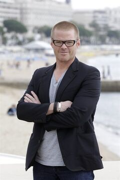 FILE - This April 2, 2012 file photo shows British chef Heston Blumenthal during the MIPTV, International Television Programme Market in Cannes, southern France. Blumenthal's
