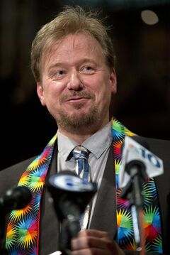 United Methodist pastor Frank Schaefer speaks during a news conference Tuesday, June 24, 2014, at First United Methodist Church of Germantown in Philadelphia. Schaefer, who presided over his son's same-sex wedding ceremony and vowed to perform other gay marriages if asked, can return to the pulpit after a United Methodist Church appeals panel on Tuesday overturned a decision to defrock him. (AP Photo/Matt Rourke)