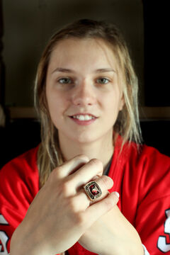 Ashleigh Brykaliuk with her gold medal ring from the world U-18 women's championship.