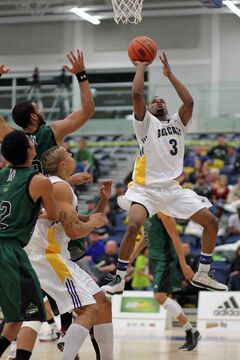 Kenonte Ramsey rises for two point in weekend action for the BU Bobcats.