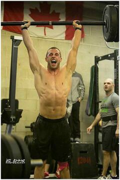 Brandonite Zach McMillan competes in the team event held by  Winnipeg's CrossFit 204 club on Saturday.