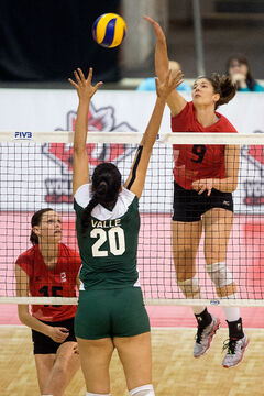 Dauphin's Tabi Love goes up for a kill against Mexico at the world volleyball championship qualifier in Mississauga, Ont., this month. Love helped Canada win the tournament.