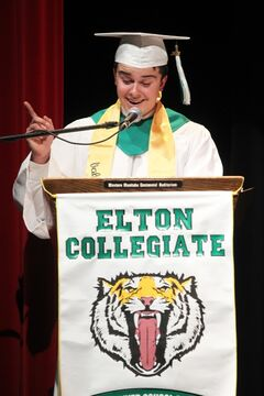 Valedictorian Dorian Lawson delivers his address during Elton Collegiate's graduation ceremony on Friday.