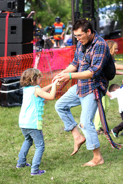 Patrick Desjarlais dances with his niece Samantha on Sunday.