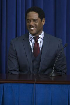 Actor Blair Underwood smiles during a roundtable discussion after a screening of the movie