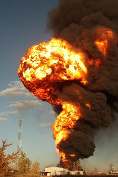 An explosion erupts at Speedway International, a methanol fuel plant in Winnipeg in 2012.
