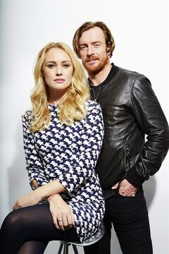 This Oct. 15, 2013 photo shows Toby Stephens, right, and Hannah New, from the new Starz original series,
