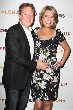 FILE - This May 6, 2014 file photo released by Starpix shows Michael Feldman, left, and Savannah Guthrie at the premiere