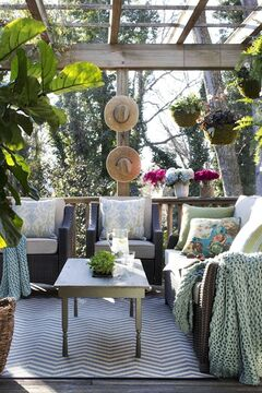 In this photo provided by Brian Patrick Flynn/HGTV.com, thanks to a pergola overhead, the outdoor lounge of the HGTV.com Spring House designed by Flynn remains cool and shaded from the harsh spring and summer sun. Flynn also uses pergolas to add privacy to outdoor living areas and provide more surfaces to house container plants. (AP Photo/HGTV.com, Brian Patrick Flynn)