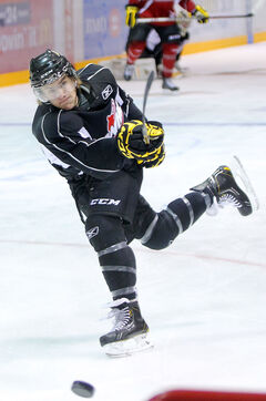 Brandon Wheat Kings defenceman Ryan Pulock hammers a slap shot during practice on Wednesday at Westman Place. Pulock is rated as an 'A' list prospect by Central Scouting.