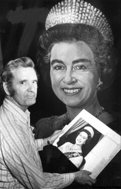 Artist Gil Burch in 1979 with his finished portrait of the Queen Elizabeth II for the Winnipeg Arena.