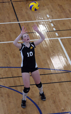 Kelsey Jordan sets the ball in the Cats 15U girls' tournament on the weekend.