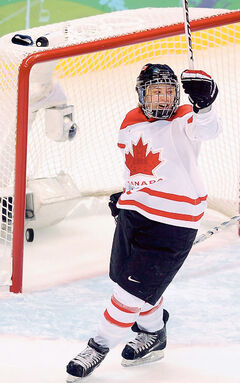 Former Canadian team member Cherie Piper celebrates a goal for Canada during the 2010 Winter Olympic Games in Vancouver.