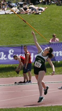 Kadie Sidoryk from Rossburn Collegiate competes in a qualifying round of the senior girls javelin event at the 2014 Milk Provincial High School Track & Field Championship at the U of M University Stadium Thursday. The championship runs until  June 7. Thursday.