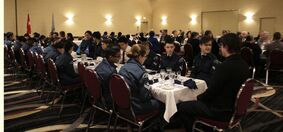 Current cadets and alumni enjoy a traditional military mess-style dinner at the Victoria Inn on Saturday night to celebrate the 75th anniversary of 82 Brandon Royal Canadian Air Cadet Squadron. The evening was also a celebration of brotherhood and sisterhood, says the squadron's commanding officer, Capt. Dan Fontaine.