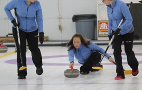 Stacey Fordyce delivers a stone during the 81st annual Brandon Ladies' Bonspiel A-event final at the Riverview Curling Club on Sunday afternoon.