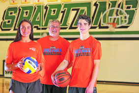 Don Thomson (centre) will be joined by his children Mary and Jake at the Power Smart Manitoba Summer Games. Don and Mary will be coaching in basketball and volleyball with Jake taking the court on the Westman basketball squad.