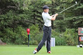 Keaton Jameson tees off at the par-5 fifth on Wednesday. He won his match over Riese Gaber. (Nathan Liewicki/The Brandon Sun)