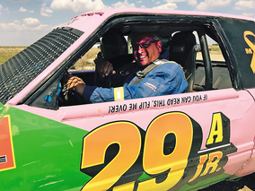 """Allen Verhaeghe is shown in his 1991 Ford Mustang that he dubbed """"Mistress."""" He races in the Prairie Association of Stock Car Auto Racing (PASCAR) series near Souris. The next race is on Sunday."""