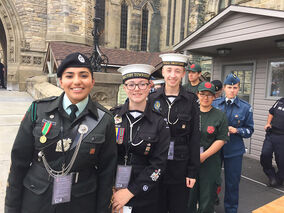 Cadet Petty Officer Second Class Cameron Lohr (third from the front) and his fellow cadets during his visit to the North American Leaders' Summit on June 29 in Ottawa.