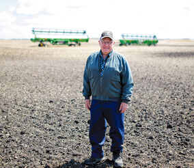 Longtime Newdale Farmer Bruce Dalgarno stands in his field on May 9, 2017. Dalgarno is part of a group that has fundraised for signage in Newdale marking the area soil as the province's official soil.