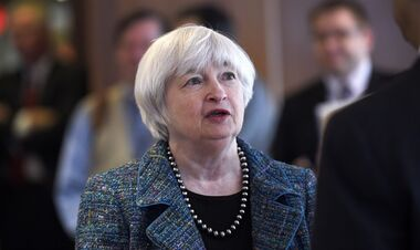 Federal Reserve Chair Janet Yellen talks with guests before speaking at The National Summit on Diversity in the Economics Profession hosted by the Federal Reserve System, Thursday, Oct. 30, 2014, at the Federal Reserve in Washington. Yellen said she wants to raise awareness of the need for diversity among economists, with relatively few women and minorities still choosing to major in economics in college. (AP Photo/Susan Walsh)