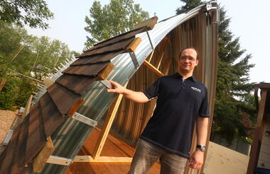 "Alex Dolzhenko is using Behlen Industries' steel technology to create a freestanding ""tiny house. (Bruce Bumstead/ Brandon Sun)"