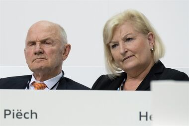 FILE - In this May 22, 2014 file photo Chairman of the board of Volkswagen AG Ferdinand Piech and his wife Ursula Piech, member of the board, attend a meeting of Audi in Ingolstadt, Germany. Piech and his wife will step back from their posts as Volkswagen announced on Saturday, April 25, 2015. (Armin Weigel/dpa via AP, File)