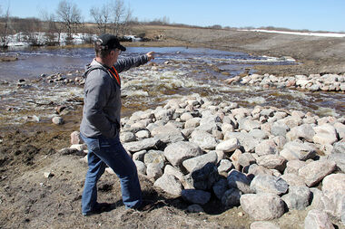 Ellice-Archie Head of Council Barry Lowes examines a dam built on the land of Lorne and Leona McAuley. The dam was built to hold back water from quickly flowing into the Assiniboine River.