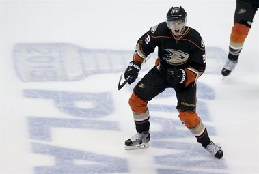 Anaheim Ducks right wing Jakob Silfverberg celebrates his goal against the Winnipeg Jets in the final minute of the third period of Game 2 of a first-round NHL hockey playoff series in Anaheim, Calif., Saturday, April 18, 2015. Anaheim won 2-1. (AP Photo/Chris Carlson)