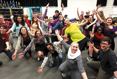 """Crocus Plains Regional Secondary School students involved in the school's upcoming dinner theatre performance of """"Hairspray Jr."""" rehearse a song and dance on Wednesday afternoon."""