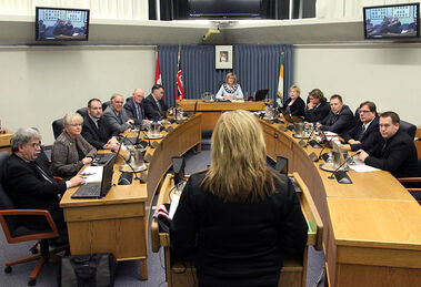 Brandon City Council listens to a presentation on Monday evening during the last regular meeting before Wednesday's municipal election.